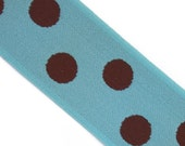 Robin Egg Blue & Brown Polka Dot 1.5 Inch Elastic banding- Reversible, goes great with any ruffle fabric color 1 yd total -more in stock