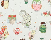 SALE....10% OFF Alexander Henry's It's a Hoot in natural, home decor fabric/ canvas half yard
