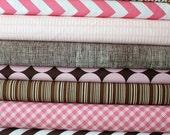 Pink and Brown custom fat quarter bundle 11 total