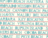 SALE... Lucy's Crab Shack by by Sweetwater for Moda Fabrics, Beach Towns Ocean 1/2 yard total