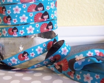 Miss Ling in Blue - Farbenmix Ribbon - 1 yard