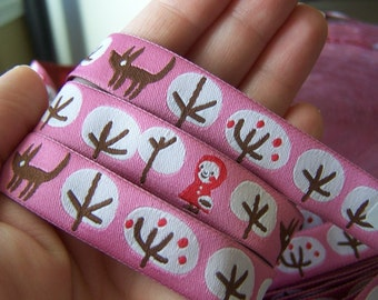 Rosa Pomar Ribbon -Little Red Riding Hood in Pink -  1 yard FREE Shipping with fabric purchase