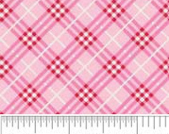 "Doohikey Designs for Riley Blake Fabrics. Hoo's Plaid in Pink, End of bolt 23"" left"