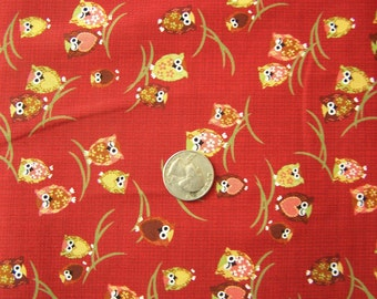 Japanese Fabric - Kawaii Winking Owls in RED End of bolt 21""