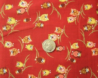 Japanese Fabric - Kawaii Winking Owls in RED 1/2 yd total