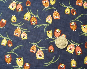 Japanese Fabric - Kawaii Winking Owls in dark BLUE 1/2 yd total
