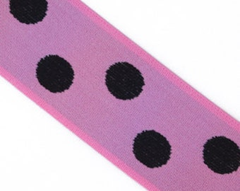 "Bright pink and black Polka Dot 1.5 Inch Elastic banding- Reversible, 29"" LEFT"