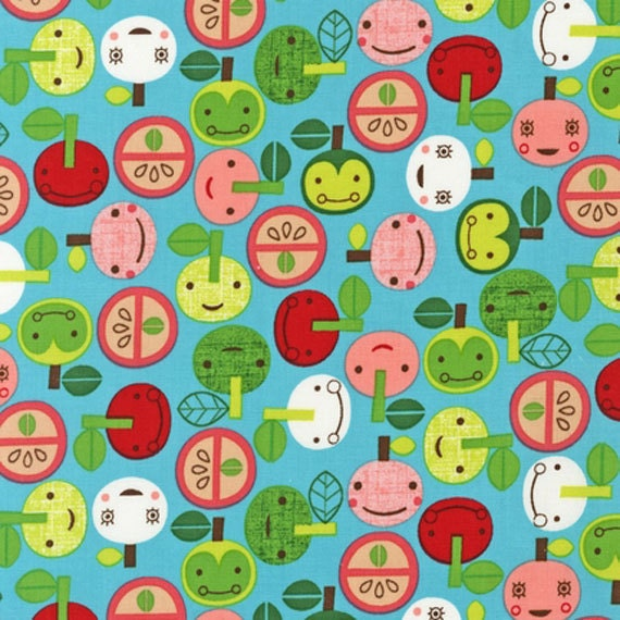 Last one, Suzy Ultman, Appleville Apple Faces Aqua -Fat quarter