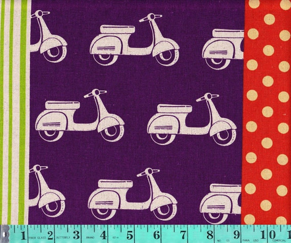 End of the bolt, Scooters in Purple, Echino Ni-Co Fabric Spring 2011,  23 inches