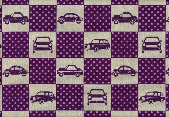 """Car Box in Purple, Echino Ni-Co Fabric Spring 2011, END OF BOLT 17"""" left"""