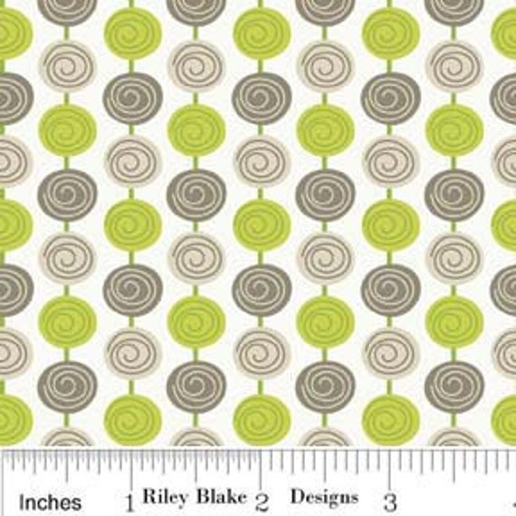 LAST ONE Alphabet Soup by Zoe Pearn for Riley Blake, Beads in Green -fat quarter