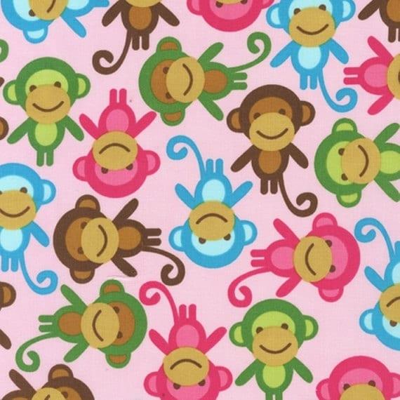 SALE.....10% OFF  Urban Zoologie by Ann Kelle for Robert Kaufman, Spring Monkeys Pink 1 yd total