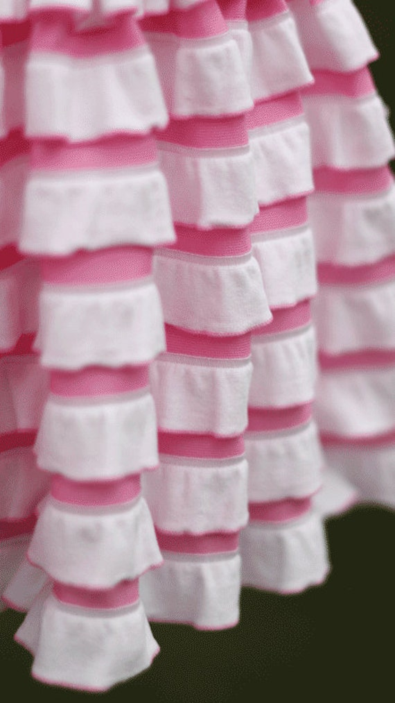 SALE.....10% OFF Bubblegum Pink & White Stripe Cascading Ruffle Fabric, 1 yd total
