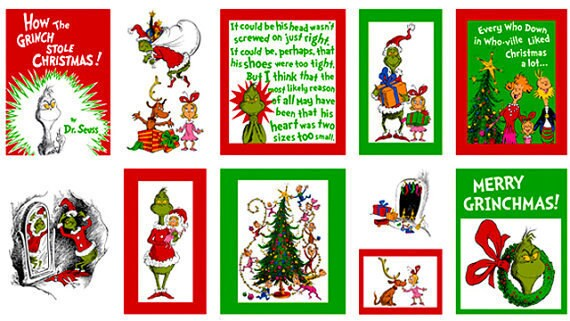 SALE.....40% off How the Grinch Stole Christmas Story Panel Fabric, 1 panel total