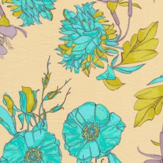 """End of the bolt SALE.......25% off  Tina Givens Haven's Edge, The Garden turquoise VOILE,  35"""" remain"""