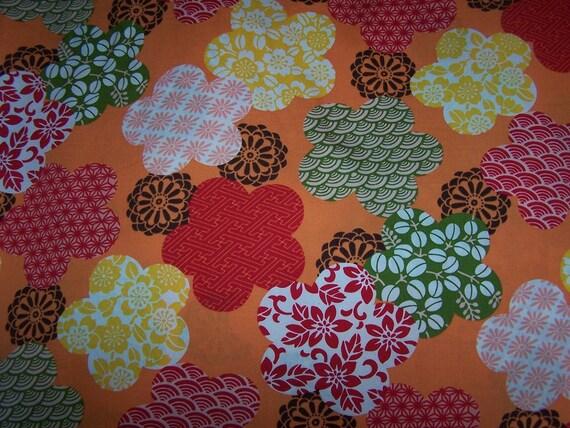 Bulk SALE.....15% OFF Haru in orange, Hawaiian fabric 1 yd 14 inches remain