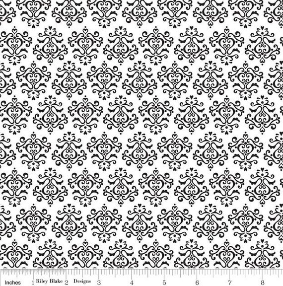 SALE.....20% OFF Riley Blake and Doodlebug designs, Tuxedo damask in white  - C2696,  1/2 yard