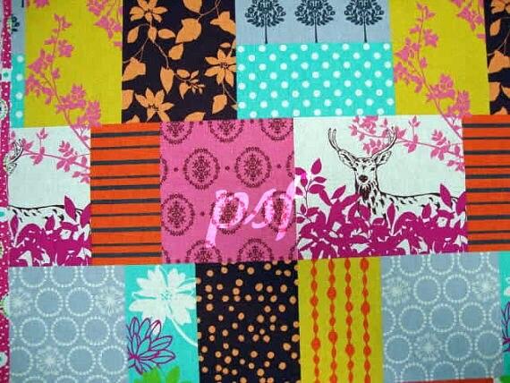 SALE....15% OFF Echino Fabric Fall 2011 by Etsuko Furuya - Forest Patchwork in Grey  - half Yard