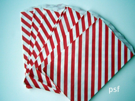 "RED Stripe Big Bitty Bags Party Favors Paper Pattern 6.25"" x 9.25"" Pack of 20"