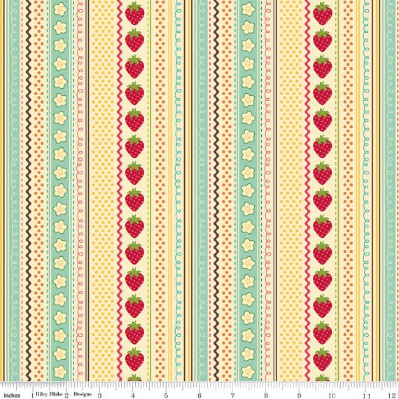 Strawberry Stripe cream, from Fly a Kite by October Afternoon and Riley Blake, 1/2 yard
