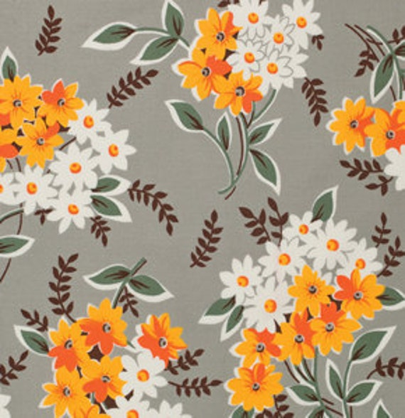 SUPER SALE.... Flea Market Fancy--legacy collection, -Bouquet in Grey-- from Denyse Schmidt, 1 yard