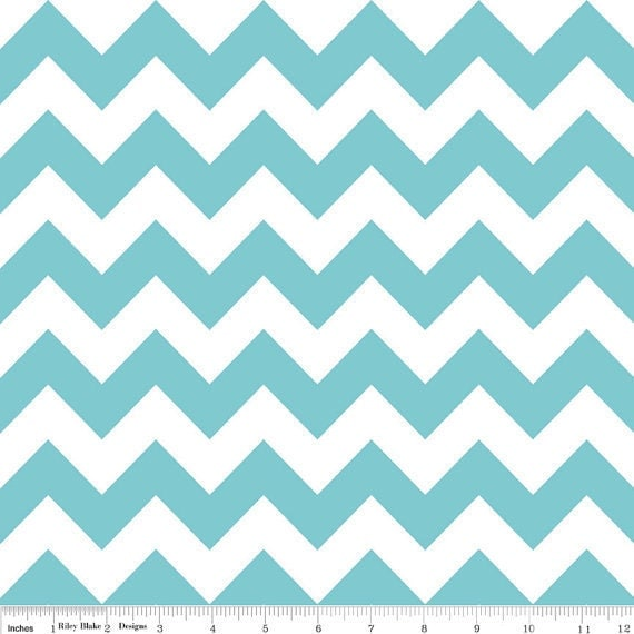 BACK in stock, Medium Chevron in AQUA by Riley Blake Designs 1/2 yard total