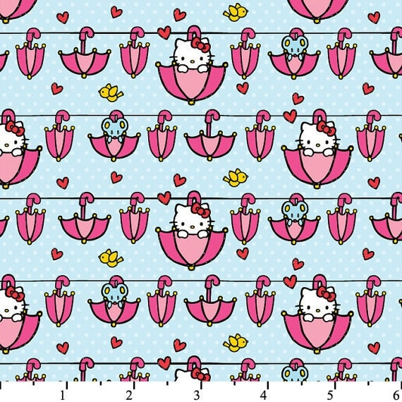 Hello Kitty Licensed Umbrella in Blue by David Textiles - 1 yard