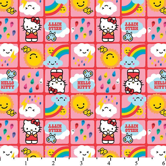 LAST ONE, Hello Kitty Licensed Hello Kitty Rain or Shine Pink by David Textiles - fat quarter