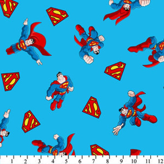 SALE 10% OFF Superman fabric Licensed by David Textiles, Superman and shields light blue - 1/2 yd total