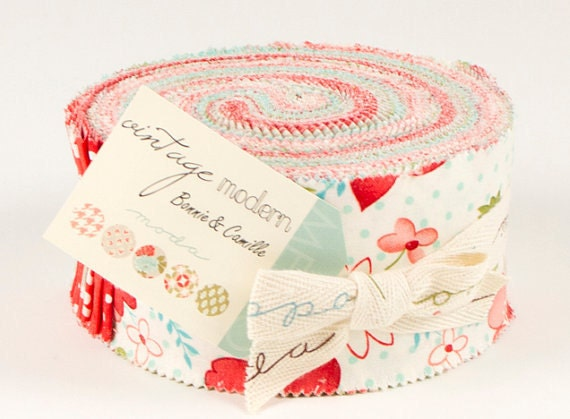 OCTOBER SALE......10% OFF Vintage Modern Jelly roll  by Bonnie and Camille for Moda Fabrics, 1 jelly roll 40 2.5 inch strips