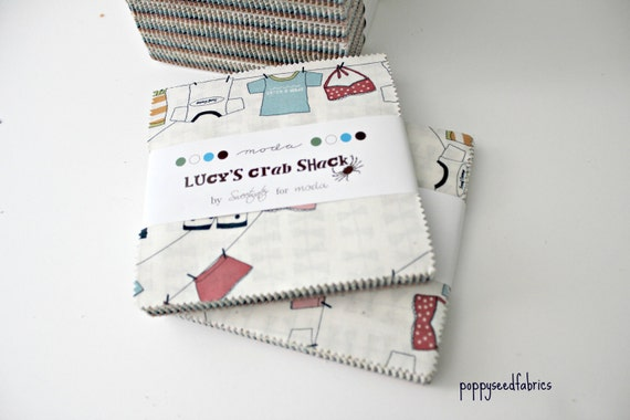 """Lucy's Crab Shack - ENTIRE COLLECTION - Charm Pack  5"""" squares  -by Sweetwater for Moda Fabrics"""