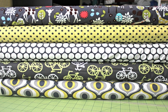Citron and grey custom bundle,  FQ of each, 5 total