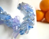 Periwinkle Chunky Beaded Necklace, Blue Lilac Leaf and Vine, Pastel
