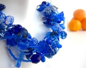 Cobalt Chunky Beaded Necklace, Blue Leaf and Vine, Royal Blue