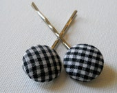 Bobby Pins from Fabric Covered Buttons (black and white gingham checked), handmade by JEJEWELED