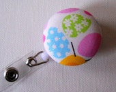 Pastel Easter Egg ID Badge Reel - multi-color (Retractable) from fabric covered buttons, handmade by JEJEWELED