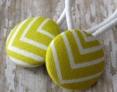 Green Chevron Stripe Ponytails (2 in set) from fabric covered buttons, handmade by JEJEWELED