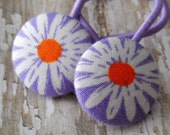 Purple, Orange and White Daisy Ponytails (2 in set) from fabric covered buttons, handmade by JEJEWELED