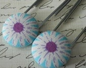 Blue and Purple Daisy Flower Fabric Covered Button Bookmarks/Paperclips, handmade by JEJEWELED