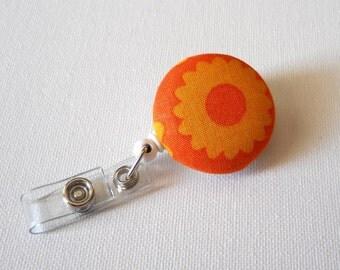 Retractable ID Badge Reel - Nurse Badge Holder - Teacher Badge Clip - Badge Pulls - Cute ID Badge Reel - Pediatric Lanyard - Orange Flower