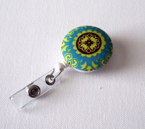 Mystique Flower - Name Badge Holder - RN Badge - Badge Clip - Nursing Badge Holder - Cute ID Badge- Fabric Button Badge Reel