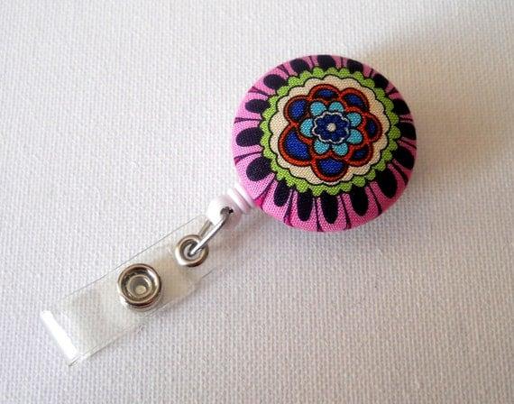 Whimsical Flower - Retractable ID Badge Reel - Name Tag Holder - RN Badge - Flower Badge Reel - Nursing Badge - Nurse Badge Clip