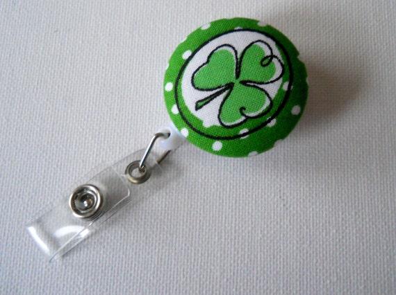St. Patrick's Day Clover - Nursing Badge - Name Badge Holder - Retractable Badge Reel - Holiday Badge - Nurse - Teacher Gift