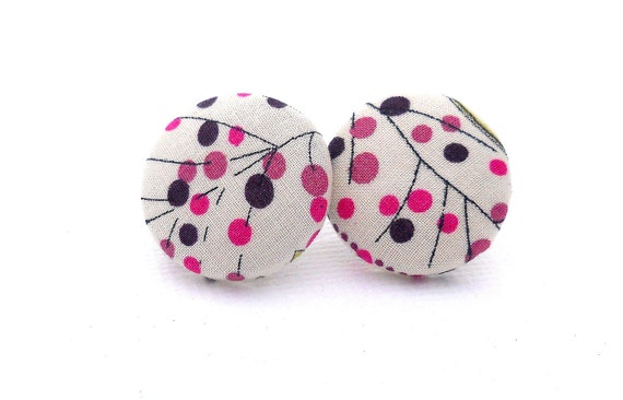 Cute Fabric Button Earrings, pink, black, white, polka dots