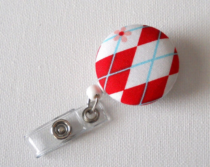 Name Badge Holder - Retractable Badge Clip - Nursing Badge Reel - Nurse Badge Holder - Teacher ID Reel - Cute ID Badge - Argyle