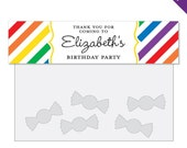 Rainbow Party - Personalized DIY printable treat bag label
