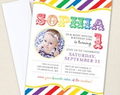 Rainbow Party Photo Invitations - Professionally printed *or* DIY printable