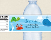 Under the Sea Party - 100% waterproof personalized water bottle labels