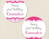 Pretty in Pink Party - Custom stickers - Sheet of 12 or 24