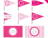 Pretty in Pink Party - Personalized DIY printable straw flags and napkin rings